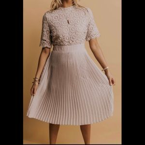 Roolee Crochet Lace Dress with Pleated Skirt